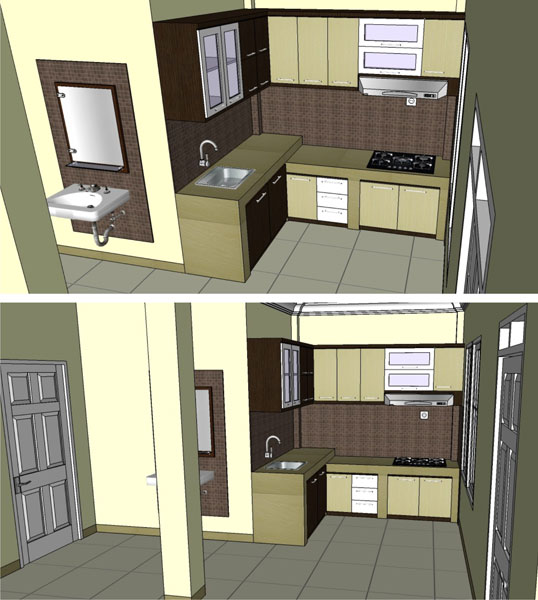 Desain Interior Dapur Warna Krem Kampung Timur Balikpapan
