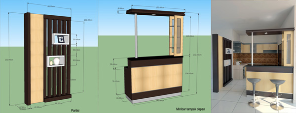 Minibar Kitchen Set Minimalis Interior Rumah Di Balikpapan Baru