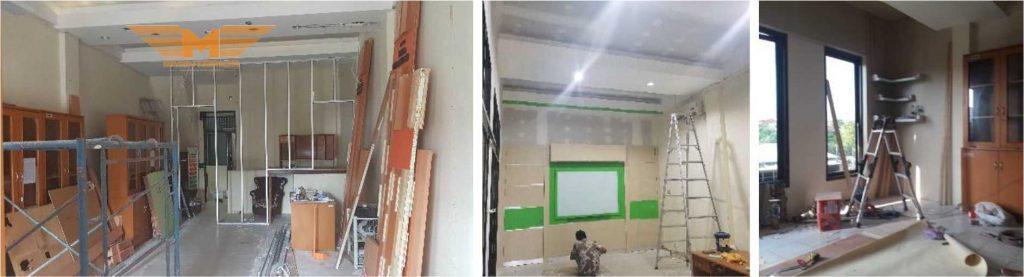 Proses instalasi furniture interior gedung kantor